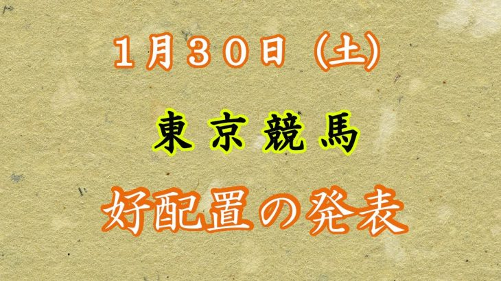 【競馬】1月30日(土)東京競馬 好配置の掲示