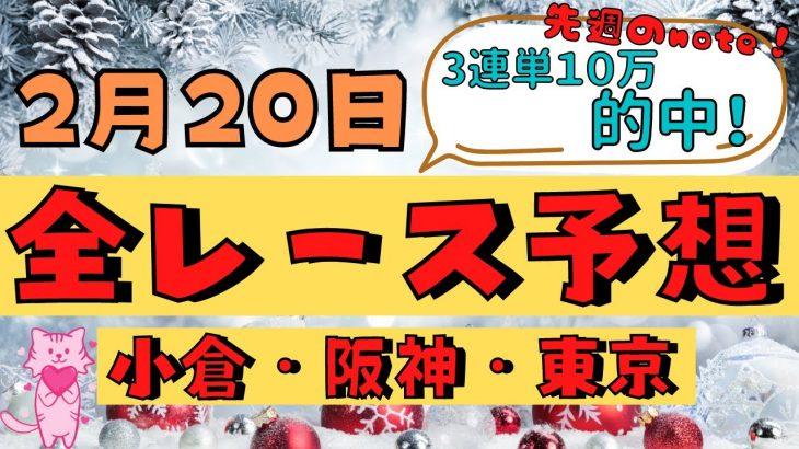 【週間競馬予想TV】2021年2月20日(土) 中央競馬全レース予想〜狙い馬・推奨レース〜を公開。小倉・阪神・東京の平場、特別戦、重賞レース、京都牝馬ステークス、ダイヤモンドステークス。注目馬を考察。