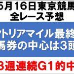 5月16日東京競馬 平場全レース予想&【ヴィクトリアマイル2021最終予想】