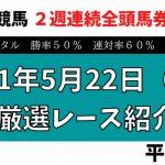 【土曜日競馬予想】  2021年5月22日(土)厳選レース紹介 平場予想  とにかく競馬予想が絶好調です!!
